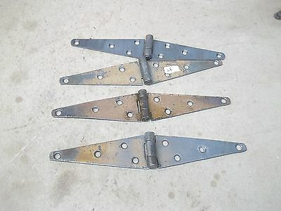 "2 Old Pair Barn Door Strap Hinges Lot SD 10"" total length"