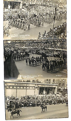 Set Of 3 Postcards - Victory March - London Us Regimental Colours 1919