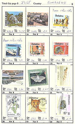 ZIMBABWE...# 426A/631...1980/90...Used...12 Different...SCV  $ 27.65