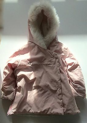 Baby Gap baby pink coat with white faux fur trim, aged 4
