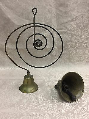 Antique PRIMITIVE ARCHITECTURAL METAL & BRASS COUNTRY STORE SPRING DOOR BELL SET
