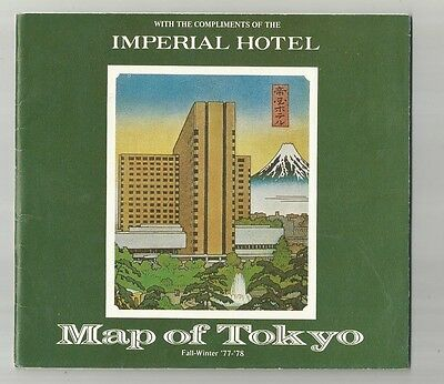 1977-78 Imperial Hotel Map Of Tokyo Japan