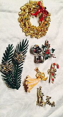 Vtg Christmas Pins Lot 6 Spruce W/snowflake Angel Reindeer Wreath Cdycane Holly