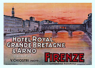 Authentic 1930 Large Version Luggage Label Hotel Firenze Richter Napoli Italy