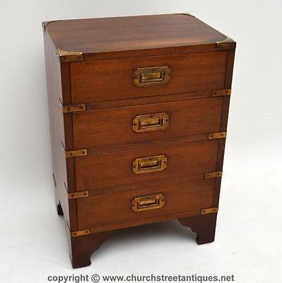 Small Antique Campaign Style Mahogany Chest Of Drawers