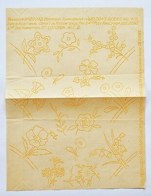 Vintage Weldon's embroidery transfer No. 20942 in yellow