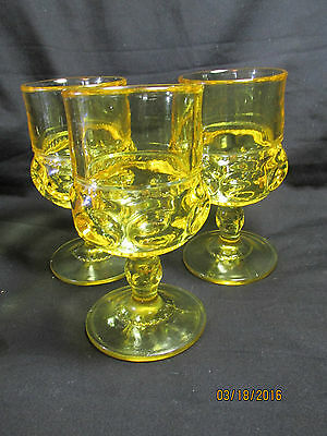 3 King's Crown Citron Yellow Goblets