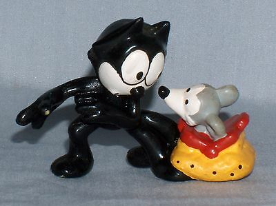 """Vlintage Felix the Cat with Mouse in Bag 2-1/2"""" x 3"""" Rubber Plastic Figure"""