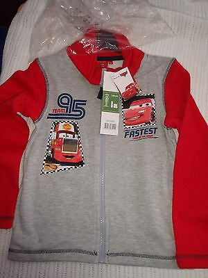 Disney Pixar L/S Full Zip Fleece Age 8 Grey with Red Sleeves BNWT
