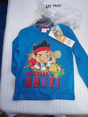 Jake & The Neverland Pirates T Shirt Long Sleeve Blue Age 4 BNWT