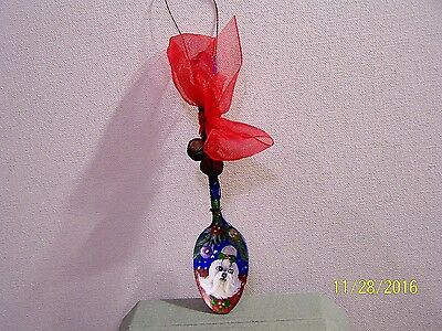 """Maltese Hand painted  original silver  plated spoon  tree ornament 6"""" tall"""