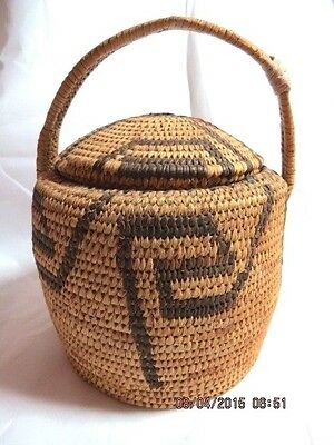 Papago Indian Basket with Lid & Handle from the 1950's