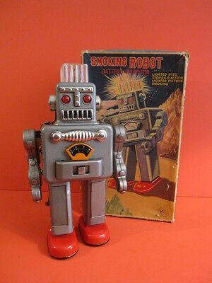 All Original Yonezawa Smoking Robot Battery Operated + Original Box 1960