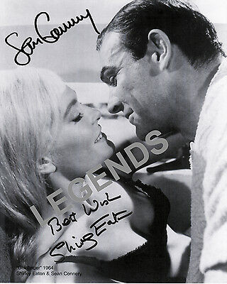 """Sean Connery & Shirley Eaton Goldfinger 8"""" x 10"""" B&W AUTOGRAPHED Photo Reprint 1"""