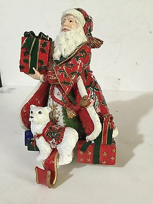 Fitz & Floyd LARGE Christmas Stocking Holders hooks fireplace Holiday Xmas