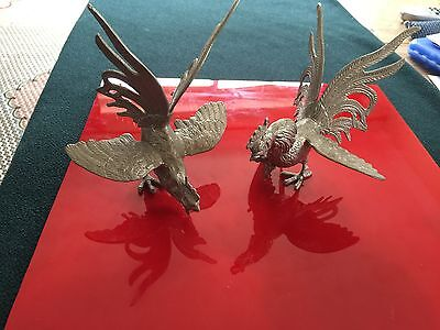 Vintage Pair Of The Decorative Metallic Roosters Statues V. Detailed From Italy.