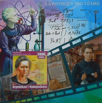 Nuclear Physics M Curie Sklodowska science Nobel Madagascar 2016 s/s #MDG2016-14