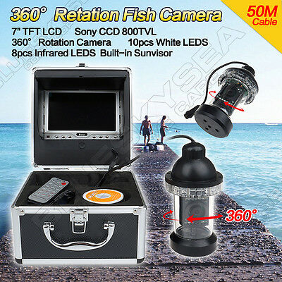 Underwater 50m 360degree Rotate fishing Fish Finder Camera 18PCS LED Lights CAM