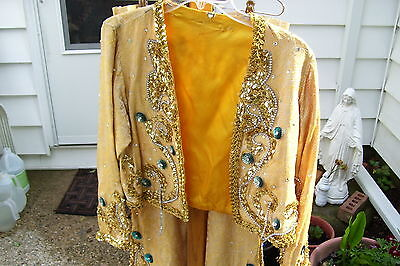 Vintage Drag Queen 3pc Outfit  Bell bottoms Shell & Jacket 1970's