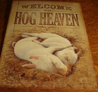 WELCOME TO HOG HEAVEN Pigglets Hugging Barn Hay Ranch Pig Farm Decor Sign - NEW