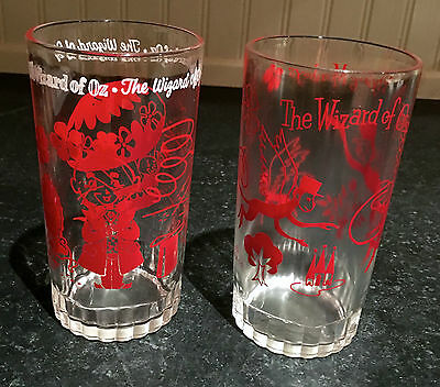 Wizard of Oz Glasses or Tumblers ~ Pair ~ 1950s