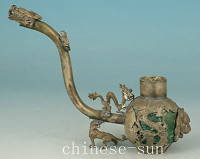 Delicate Chinese Old Copper Jade Carving Dragon Collect Statue Pape Art Decor