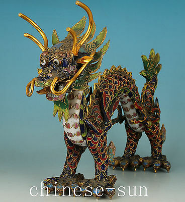 Noble Chinese Old Cloisonne Handmade Carving Dragon Collect Statue Figure