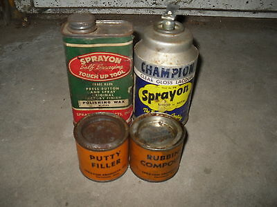 Lot of VINTAGE Cans ,CHAMPION SPRAYON SPRAY Paint, 1951 Polishing Wax can, paper