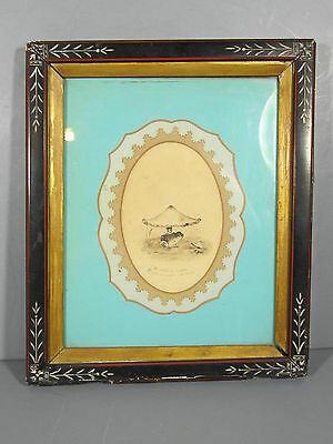 Folk Art Drawing of a Toad or Frog Under A Toadstool / Great Frame & Mat AAFA