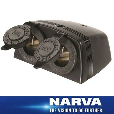 Narva HDRV Power Heavy-Duty 12/24V Twin Surface Mount Accessory Sockets Black 81