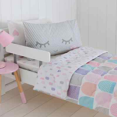 Scalloped Pink Grey White Aqua Cot / Toddler Bed Quilted Comforter Set - Nursery