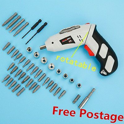 45 pcs Rechargeable Cordless Reversible Electric Screwdriver 4.8v Kit Set DX