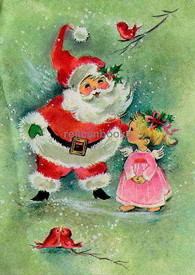 #533 GLITTER, Pink Angel Girl Has a Wish for Santa, Vintage Christmas Card