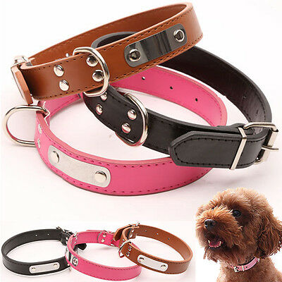 Leather Pet Dog Cat Puppy Collar Neck Buckle Adjustable Neck Leash Collar Gift