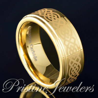 Tungsten Carbide 18k Gold IP Celtic Knots Wedding Band Promise Ring Mens Jewelry