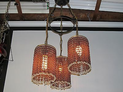 Gothic Spanish Wrought Iron 3 Stained Glass Hanging Lamps Beaded Amethyst Vtg