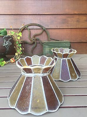 Old Vintage Pair Lead Light Hand Made Stained Glass Lamp Shades