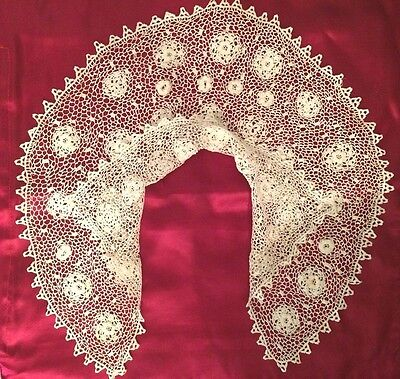 Beautiful Antique Irish Double Lace Collar  MINT COND