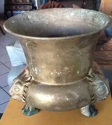 Antique Victorian 1860 English Jardiniere Planter Pot/ Gargoyles,Brass!