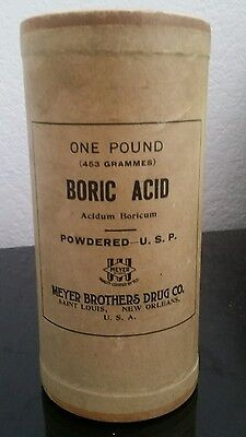 Vintage Container Boric Acid Powdered Full ~ MEYER BROTHERS DRUG CO. ~ SEALED
