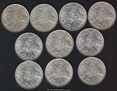 Australia 1966 50c pieces x 10, contains 80% Silver