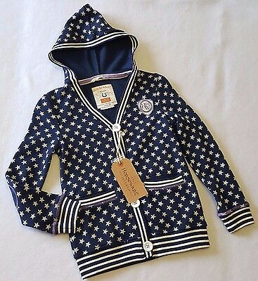 Kid's Horseware Ireland Cozy Button-Front Hoody Hoodie Navy Star Print Sz 7/8 YR