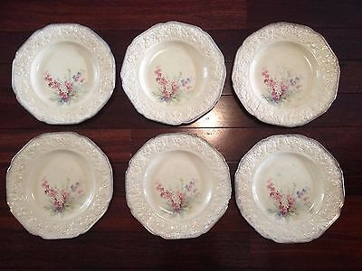 Crown Ducal Florentine 'Picardy' Dinner Plates x6 18K Gold Border