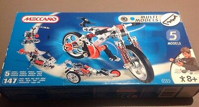 Meccano Set 5 Models Bike, Helicopter, Crane + More 3501