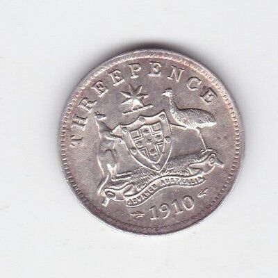 1910 Sterling Silver Threepence 3P Coin Australia nice grade A-820