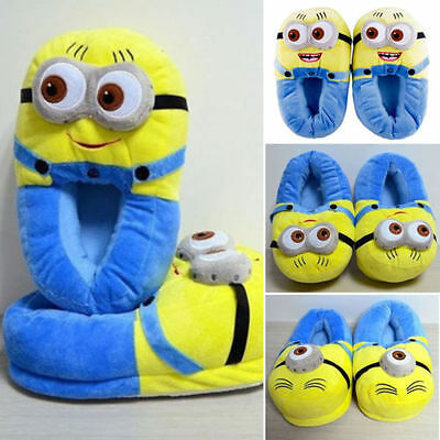 Unisex Womens Men Cute Cartoon 3D Minion Soft Plush Adult Slippers Indoor Shoes