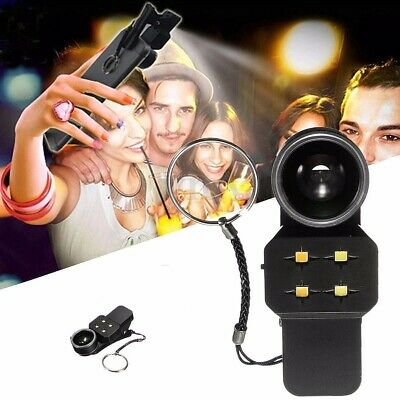4 in 1 Fisheye Wide Angle Macro Lens Phone Soft Selfie LED Flash Fill Light