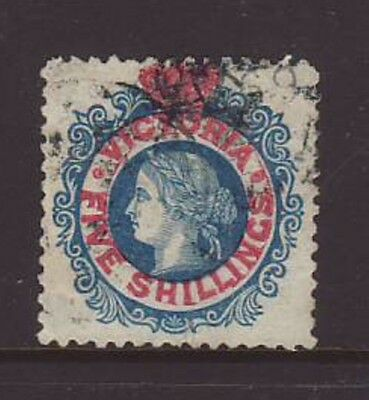 VICTORIA QV 1863 5/ Blue on Red Fine used.