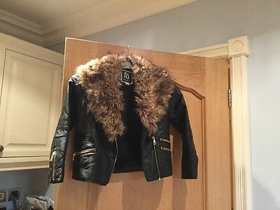 Girls River Island Leather Look Jacket
