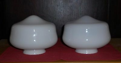 Pair Art Deco Small White Glass  Light Shades Good Condition